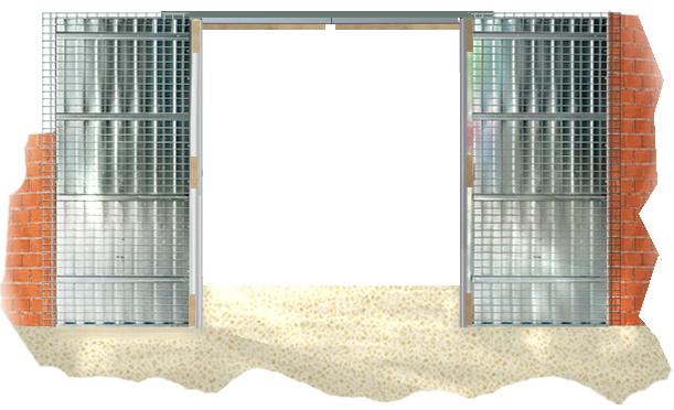 conjunto armazn para dos puertas correderas doble armazn atornillado con unin con